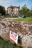 Stop HS2 sign outside a large detached house, Little Missenden, Buckinghamshire.