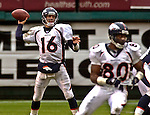 Denver Broncos quarterback Jake Plummer (16) on Sunday, November 30, 2003, in Oakland, California. The Broncos defeated the Raiders 22-8.