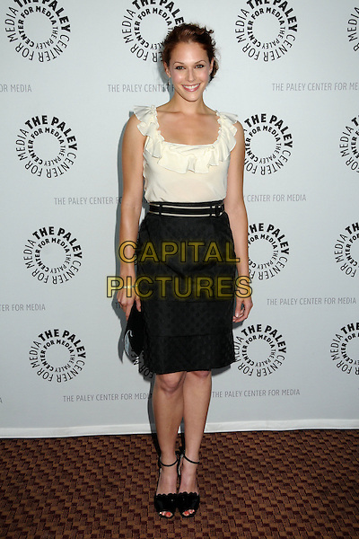 """AMANDA RIGHETTI .The 26th Annual William S. Paley Television Festival presents """"The Mentalist"""" held at Arclight Cinemas,  Hollywood, CA, USA, 17th April 2009..full length white cream top black pencil skirt tucked in shoes sandals belt waist ruffle .CAP/ADM/BP.©Byron Purvis/Admedia/Capital Pictures"""