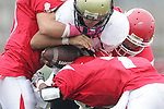 Redondo Beach, CA 10/14/10 - Lorenzo Nunziati (Peninsula #13) in action during the Peninsula vs Redondo Junior Varsity football game at Redondo Union HIgh School.
