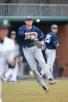 Akron Zips third baseman James Meeker III (37) makes a throw to first base against the Charlotte 49ers at Hayes Stadium on February 22, 2015 in Charlotte, North Carolina.  The Zips defeated the 49ers 5-4.  (Brian Westerholt/Four Seam Images)