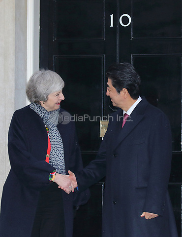 Prime Minister Theresa May and Prime Minister Shinzo Abe of Japan are seen on the steps of 10 Downing Street, London on January 10th 2019<br /> CAP/ROS<br /> ©ROS/Capital Pictures /MediaPunch ***NORTH AND SOUTH AMERICAS ONLY***