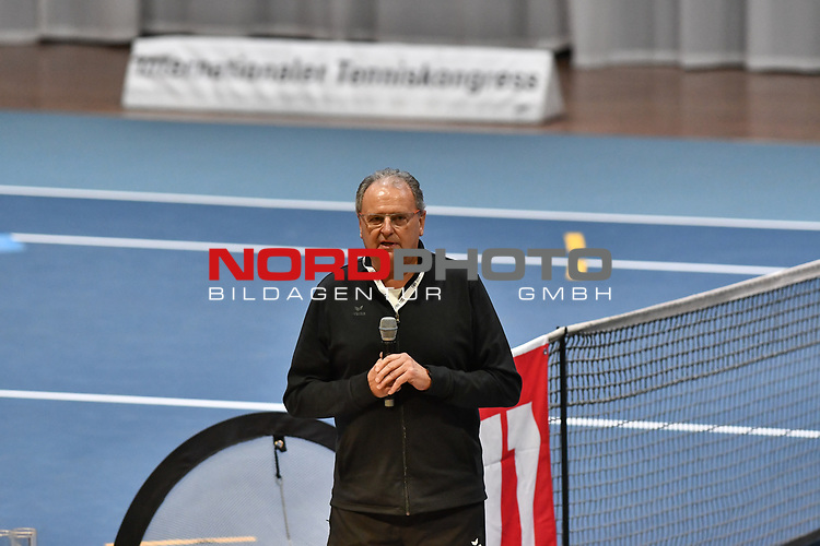 04.01.2018, Estrel Congress Center, Berlin, GER,  Internationaler DTB Tenniskongress 2019 <br /> <br /> im Bild Hans-Peter Born begruesst die Teilnehmer<br /> <br /> Foto © nordphoto/Mauelshagen