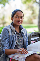 (Photo by Nick Harrington, Occidental College Class of 2017)<br /> <br /> Snigdha Suvarna '20 studying outside the Library, September 9, 2016<br /> <br /> (Photo by Nick Harrington, Occidental College Class of 2017)