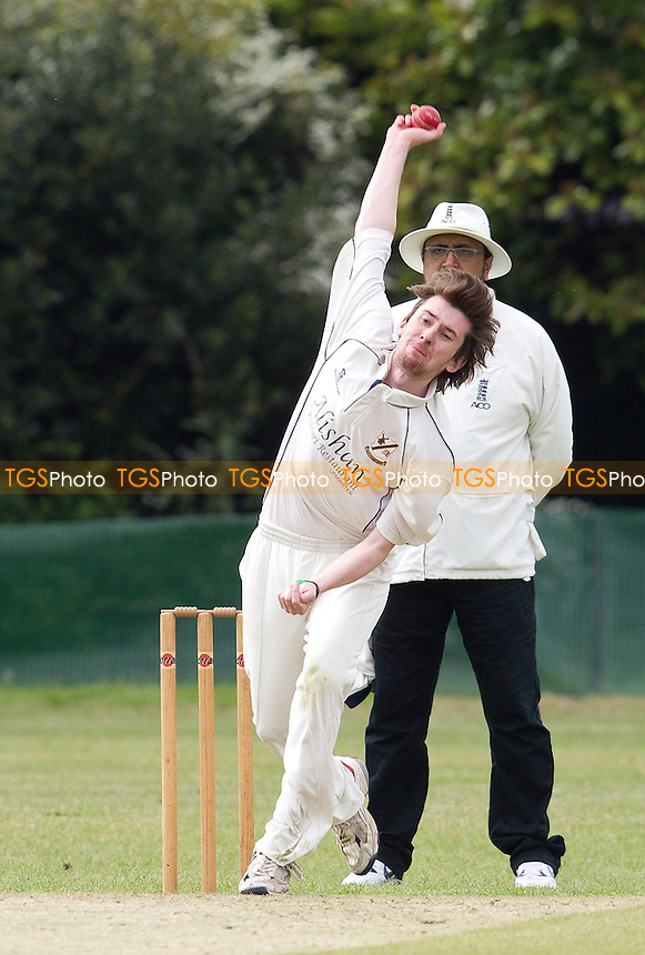 J Aggio Brewe of Upminster in action - Ilford CC vs Upminster CC - Essex Cricket League at Valentines Park, Ilford, Essex  - 18/05/13 - MANDATORY CREDIT: Ray Lawrence/TGSPHOTO - Self billing applies where appropriate - 0845 094 6026 - contact@tgsphoto.co.uk - NO UNPAID USE.