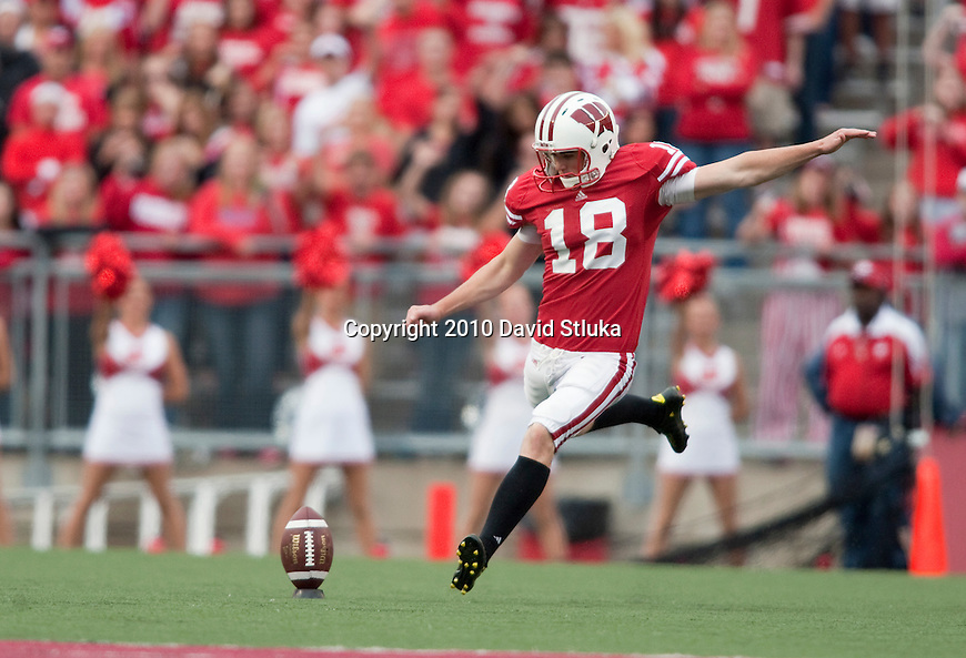 Wisconsin Badgers kicker Philip Welch (18) kicks the ball during an NCAA college football game against the Arizona State Sun Devils on September 18, 2010 at Camp Randall Stadium in Madison, Wisconsin. The Badgers beat the Sun Devils 20-19. (Photo by David Stluka)