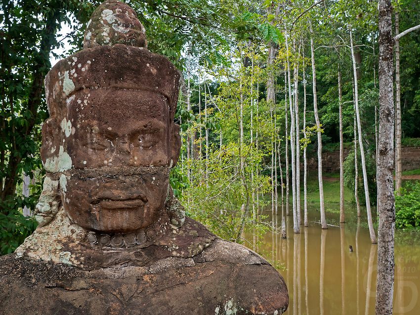 Sone faces and trees during the Monsoon season, near Bayon Temple, Angkor Wat area, Cambodia