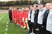 20200304  Parchal , Portugal : Belgian players pictured during the national anthem of female football game between the national teams of New Zealand , known as the Football Ferns and Belgium called the Red Flames on the first matchday of the Algarve Cup 2020 , a prestigious friendly womensoccer tournament in Portugal , on wednesday 4 th March 2020 in Parchal , Portugal . PHOTO SPORTPIX.BE   DAVID CATRY