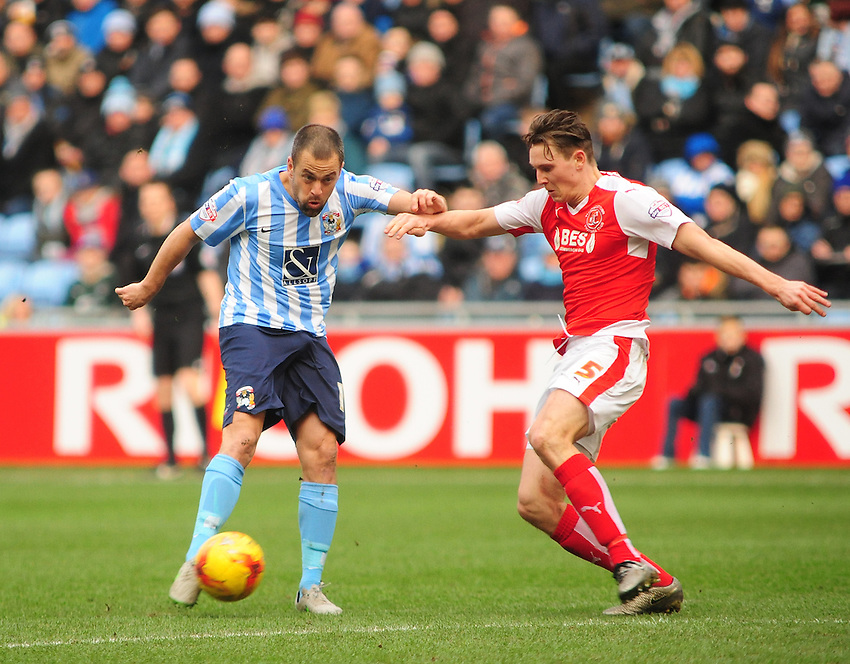 Coventry City's Joe Cole  gets a shot on target as he is closed down by Fleetwood Town's Eggert Jonsson<br /> <br /> Photographer Andrew Vaughan/CameraSport<br /> <br /> Football - The Football League Sky Bet League One - Coventry City v Fleetwood Town - Saturday 27th February 2016 - Ricoh Stadium - Coventry   <br /> <br /> &copy; CameraSport - 43 Linden Ave. Countesthorpe. Leicester. England. LE8 5PG - Tel: +44 (0) 116 277 4147 - admin@camerasport.com - www.camerasport.com