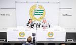 Stockholm 2015-04-25 Fotboll Allsvenskan Hammarby IF - &Aring;tvidabergs FF :  <br /> &Aring;tvidabergs tr&auml;nare Roar Hansen och Hammarbys tr&auml;nare Nanne Bergstrand under presskonferensen efter matchen mellan Hammarby IF och &Aring;tvidabergs FF <br /> (Foto: Kenta J&ouml;nsson) Nyckelord:  Fotboll Allsvenskan Tele2 Arena Hammarby HIF Bajen &Aring;tvidaberg &Aring;FF tr&auml;nare manager coach press presskonferens intervju portr&auml;tt portrait inomhus interi&ouml;r interior