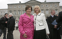 09/03/2011.Sinn Fein TD's Mary Lou McDonald & Sandra McLellan.during the 1st day of the 31st Dail.at Leinster House,  Dublin..Photo: Gareth Chaney Collins