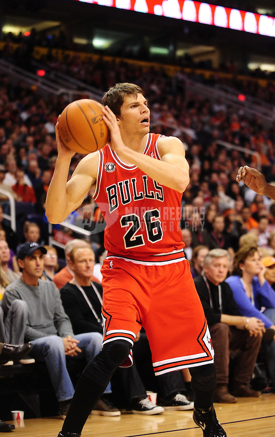 Nov. 24, 2010; Phoenix, AZ, USA; Chicago Bulls guard (26) Kyle Korver against the Phoenix Suns at the US Airways Center. The Bulls defeated the Suns 123-115 in double overtime. Mandatory Credit: Mark J. Rebilas-