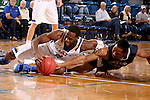 BROOKINGS, SD - OCTOBER 29:  Tevin King #2 from South Dakota State battles for the loose ball with Troy Whiteto, II #30 from South Dakota School of Mines in the second half of their exhibition game Thursday night at Frost Arena in Brookings. (Photo by Dave Eggen/Inertia)