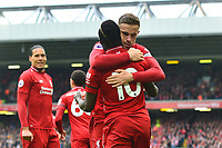 Liverpool's Sadio Mane celebrates scoring his side's first goal with Jordan Henderson<br /> <br /> Photographer Richard Martin-Roberts/CameraSport<br /> <br /> The Premier League - Liverpool v Chelsea - Sunday 14th April 2019 - Anfield - Liverpool<br /> <br /> World Copyright © 2019 CameraSport. All rights reserved. 43 Linden Ave. Countesthorpe. Leicester. England. LE8 5PG - Tel: +44 (0) 116 277 4147 - admin@camerasport.com - www.camerasport.com