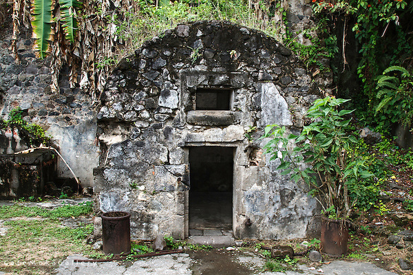 Ruins of the cell in the prison where Louis-Auguste Cyparis was sole survivor of the eruption of the Mont Pele in Saint-Pierre, Martinique