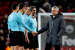 Manchester United manager Jose Mourinho shakes the hands of the officials during the UEFA Europa League Quarter Final 2nd Leg match at Old Trafford, Manchester. Picture date: April 20th, 2017. Pic credit should read: Matt McNulty/Sportimage