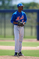 GCL Mets starting pitcher Jender De Jesus (27) gets ready to deliver a pitch during a game against the GCL Nationals on August 4, 2018 at FITTEAM Ballpark of the Palm Beaches in West Palm Beach, Florida.  GCL Nationals defeated GCL Mets 7-4.  (Mike Janes/Four Seam Images)