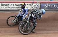 Heat 9: Alfie Bowtell (blue) and Charley Powell (yellow)<br /> <br /> Photographer Rob Newell/CameraSport<br /> <br /> National League Speedway - Lakeside Hammers v Eastbourne Eagles - Lee Richardson Memorial Trophy, First Leg - Friday 14th April 2017 - The Arena Essex Raceway - Thurrock, Essex<br /> &copy; CameraSport - 43 Linden Ave. Countesthorpe. Leicester. England. LE8 5PG - Tel: +44 (0) 116 277 4147 - admin@camerasport.com - www.camerasport.com
