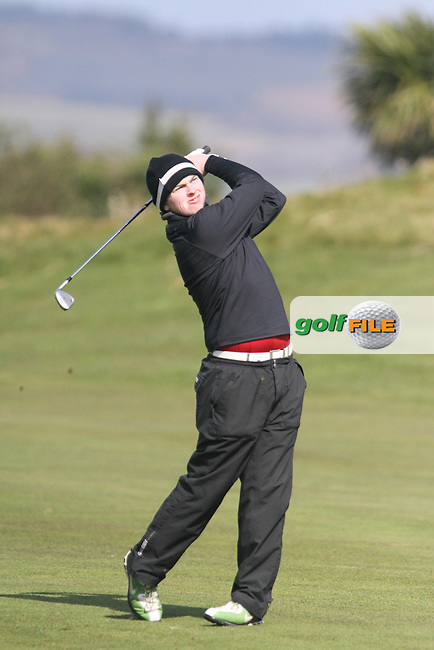 Caolan Rafferty (Greenore) on the 1st during the Leinster Youths Amateur Open Championship in the European Club, Brittas Bay, Co.Wicklow. 27/3/13..(Photo Jenny Matthews/www.golffile.ie)
