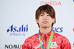 Ami Kondo (JPN), <br /> AUGUST 7, 2016 : <br /> Bronze Medalist Ami Kondo, Naohisa Takato and Hiromi Miyaka of Japan<br /> during the Press Conference <br /> for the Rio 2016 Olympic Games<br /> at the Japan House in Rio de Janeiro, Brazil. <br /> (Photo by AFLO SPORT)