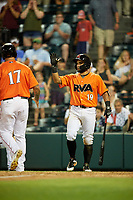 Richmond Flying Squirrels third baseman Ali Castillo (19) reaches out to high five K.C. Hobson (17) during a game against the Trenton Thunder on May 11, 2018 at The Diamond in Richmond, Virginia.  Richmond defeated Trenton 6-1.  (Mike Janes/Four Seam Images)