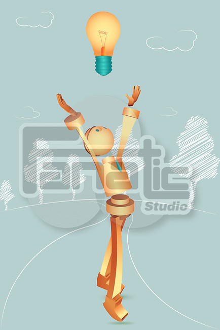 Illustrative image of robotic businessman with light bulb representing vision