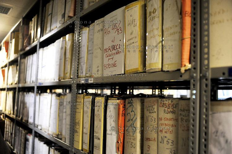 Roma, Maggio 2011.Archivio Giudiziario della corte D'Assise.Le carte relative a Valerio Morucci