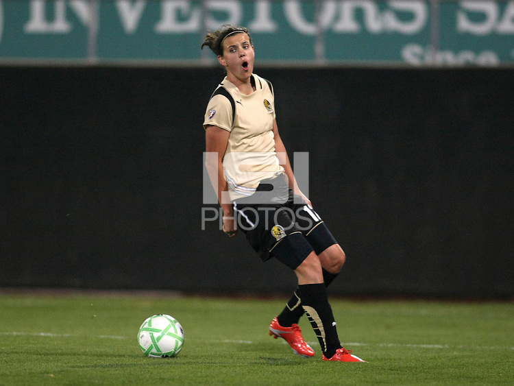 Christine Sinclair (12) of FC Gold Pride expresses her displeasure at an offside call.  Sky Blue FC and FC Gold Pride battled to a 1-1 draw in Bridgewater, NJ on Saturday, April 11, 2009.