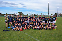 The teams pose for a group photo after the 2019 Hurricanes Youth Council Under-15 Girls' Rugby Tournament match between Palmerston North Girls' High School and Feilding High School at Playford Park in Levin, New Zealand on Tuesday, 3 September 2018. Photo: Dave Lintott / lintottphoto.co.nz