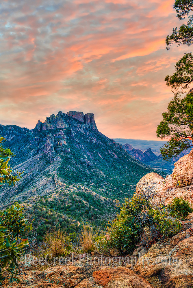 The Lost Mine Trail in Big Bend National Park at sunset with it big vista landscape of the mountains in the Chiso Basin in a vertical format.