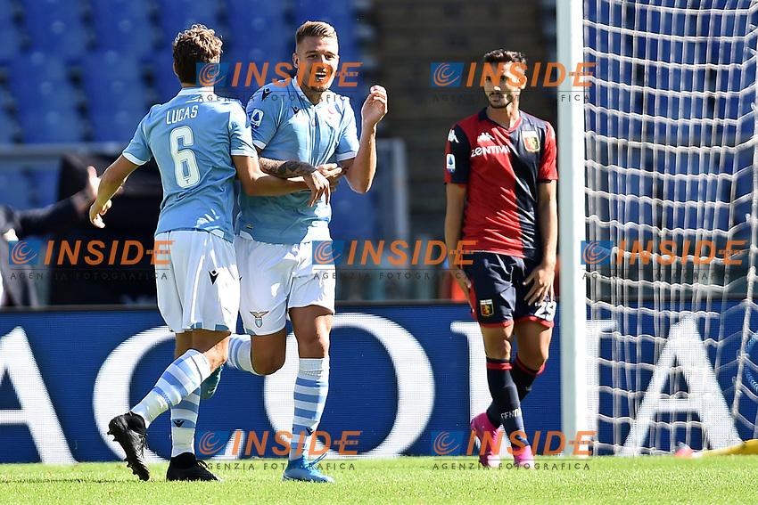 Sergej Milinkovic-Savic of SS Lazio celebrates with Lucas Leiva after scoring the goal of 1-0 for his side <br /> Roma 29-9-2019 Stadio Olimpico <br /> Football Serie A 2019/2020 <br /> SS Lazio - Genoa CFC <br /> Foto Andrea Staccioli / Insidefoto