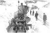 Flanger with snow removal train at Cumbres station.<br /> D&amp;RGW  Cumbres, CO