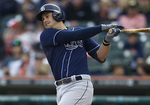 June 05, 2013:  Tampa Bay Rays third baseman Evan Longoria (3) at bat during MLB game action between the Tampa Bay Rays and the Detroit Tigers at Comerica Park in Detroit, Michigan.  The Rays defeated the Tigers 3-0.