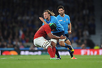 Joshua Furno of Italy is stopped in his tracks by Thierry Dusautoir of France during Match 5 of the Rugby World Cup 2015 between France and Italy - 19/09/2015 - Twickenham Stadium, London <br /> Mandatory Credit: Rob Munro/Stewart Communications