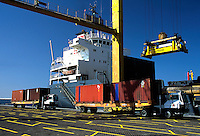 Loading containers on a ship at Dubai docks