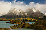A clearing storm reveals the Cuernos del Paine in Torres del Paine National Park, Patagonia, Chile