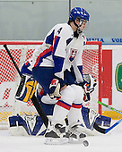 Juraj Valach (Tri-Cities Americans - Slovakia) blocks a shot. The Suisse defeated Slovakia 2-1 in a 2007 World Juniors match on January 2, 2007, at FM Mattson Arena in Mora, Sweden.