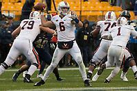 Virginia quarterback Kurt Benkert. The Pitt Panthers defeated the Virginia Cavaliers 31-14 at Heinz Field, Pittsburgh, PA on October 28, 2017.