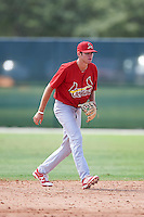 GCL Cardinals second baseman Brady Whalen (40) during the first game of a doubleheader against the GCL Marlins on August 13, 2016 at Roger Dean Complex in Jupiter, Florida.  GCL Cardinals defeated GCL Marlins 4-2 in a continuation of a game originally started on August 8th.  (Mike Janes/Four Seam Images)