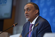 Washington, DC - April 16, 2016: Mohammed Aden Ibrahim, Minister of Finance, Somalia, participates in a press briefing of African finance ministers at the IMF HQ2 building during the IMF/World Bank Spring Meetings in the District of Columbia, April 16, 2016.  (Photo by Don Baxter/Media Images International)