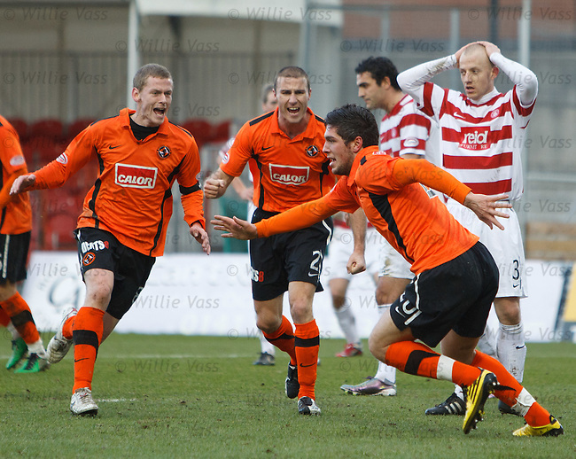 Andis Shala celebrates his late equaliser for Dundee Utd as Hamilton's Gavin Skelton can't believe it