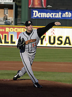 April 26, 2004:  Pitcher Jeriome Robertson of the Buffalo Bisons, International League (AAA) affiliate of the Cleveland Indians, during a game at Frontier Field in Rochester, NY.  Photo by:  Mike Janes/Four Seam Images