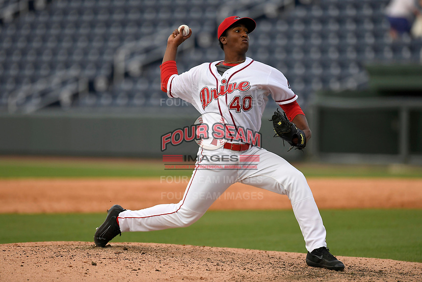 Pitcher Algenis Martinez (40) of the Greenville Drive delivers a pitch in game one of a doubleheader against the Rome Braves on Tuesday, May 30, 2017, at Fluor Field at the West End in Greenville, South Carolina. Rome won, 10-7. (Tom Priddy/Four Seam Images)