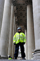 A policeman guards the Bank of England as thousands of protestors descended on the City of London ahead of the G20 summit of world leaders to express anger at the economic crisis, which many blame on the excesses of capitalism.
