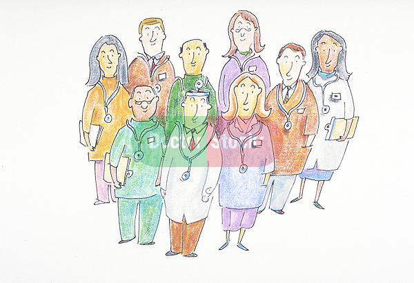 group portrait of smiling doctors