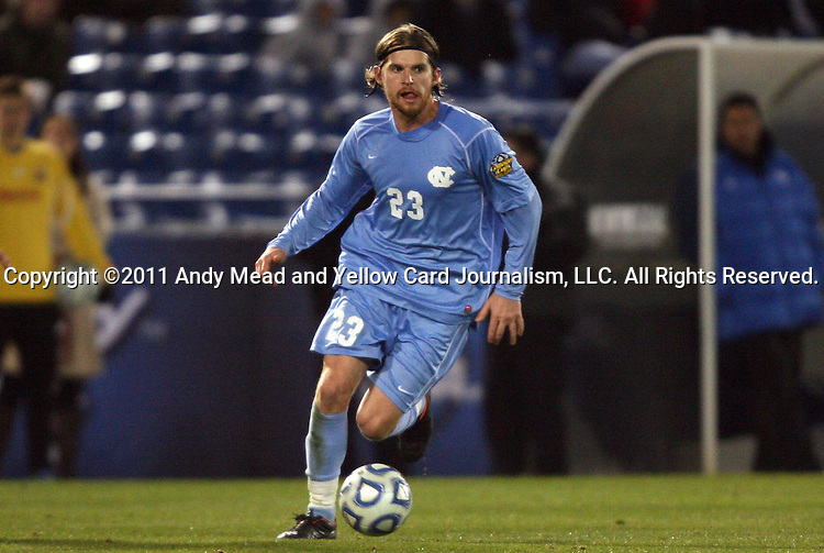 09 December 2011: North Carolina's Drew McKinney. The University of California Los Angeles Bruins played the University of North Carolina Tar Heels to a 2-2 tie after overtime, with the Tar Heels advancing with a 3-1 win in the penalty kick shootout at Regions Park in Hoover, Alabama in an NCAA Division I Men's Soccer College Cup semifinal game.
