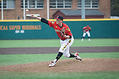 """Pitcher John Murphy throws a pitch during Maryland's 6-2 loss to the University of Michigan on Mar. 26, 2017 at Bob """"Turtle"""" Smith Stadium.  (Marquise McKine/The Diamondback)"""
