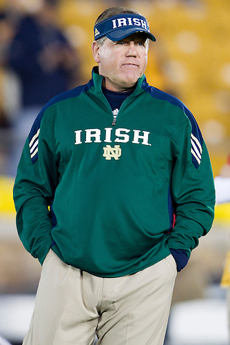 Notre Dame head coach Brian Kelly during pregame of NCAA football game between Notre Dame and USC.  The USC Trojans defeated the Notre Dame Fighting Irish 31-17 in game at Notre Dame Stadium in South Bend, Indiana.