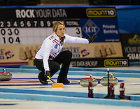 Glasgow. SCOTLAND. Denmark's Madeleine DUPONT, offering signals to team team mates,  during the   &quot;Round Robin&quot; Games. Le Gruy&egrave;re European Curling Championships. 2016 Venue, Braehead  Scotland<br /> Monday  21/11/2016<br /> <br /> [Mandatory Credit; Peter Spurrier/Intersport-images]
