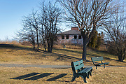 Winter Island Maritime Park...Abandoned Coast Guard barracks during the winter months. Located in Salem, Massachusetts USA which is part of scenic New England
